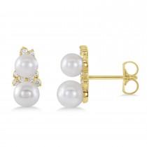 Pearl & Diamond Climber Earrings 14k Yellow Gold (5-5.5mm 0.80ctw)