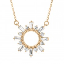Diamond Circle Sun Pendant Necklace 14k Rose Gold (0.63 ctw)