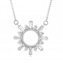 Diamond Circle Sun Pendant Necklace 14k White Gold (0.63 ctw)