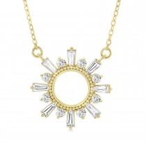 Diamond Circle Sun Pendant Necklace 14k Yellow Gold (0.63 ctw)