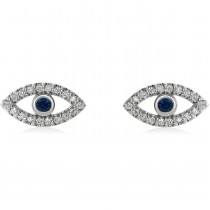 Blue Sapphire & Diamond Accented Evil Eye Earrings 14k White Gold (0.46ct)