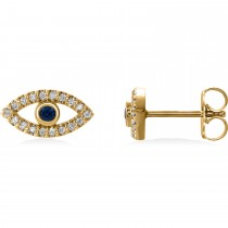 Blue Sapphire & Diamond Accented Evil Eye Earrings 14k Yellow Gold (0.46ct)