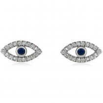 Blue Sapphire & Diamond Accented Evil Eye Earrings Sterling Silver (0.46ct)