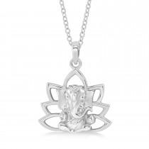 Hindu Deity Ganesha Pendant Necklace 14k White Gold