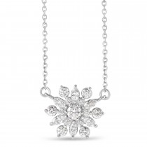Diamond Sun-Shaped Vintage-Inspired Pendant Necklace 14k White Gold (0.5ct)