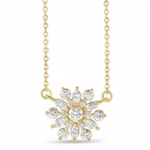 Diamond Sun-Shaped Vintage-Inspired Pendant Necklace 14k Yellow Gold (0.5ct)