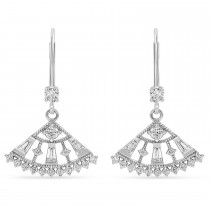 Diamond Lever Back Fan Earrings  14k White Gold (0.75 ctw)