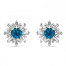 Diamond & Blue Topaz Earrings 14k White Gold (2.24ct)