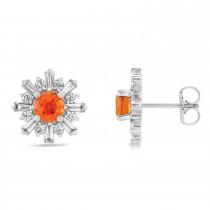 Diamond Fire Opal Earrings 14k White Gold (1.80ct)