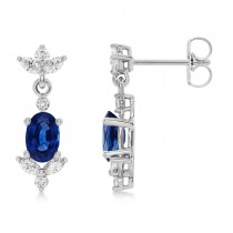 Blue Sapphire Dangling Earrings Diamonds on Edge 14k White Gold (1.78ct)