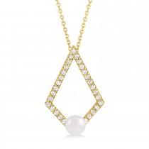 Pearl & Diamond Geo Pendant Necklace 14k Yellow Gold (5-5.5mm)
