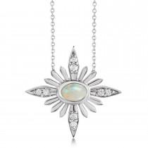 Diamond Celestial Opal Pendant Necklace 14k White Gold (0.38ct)