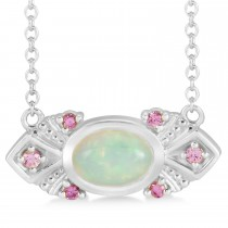 Opal & Pink Sapphire Vintage Pendant Necklace 14k White Gold (0.54ct)