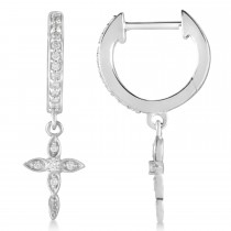 Diamond Cross Hinged Hoop Earrings 14k White Gold (0.13ct)