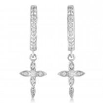Diamond Cross Hinged Hoop Earrings 14k White Gold (0.13ct)