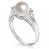 Split Shank Freshwater Pearl and Diamond Ring 14K W. Gold 7.5-8mm