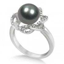 Diamond and Black Tahitian Pearl Floral Ring 14K White Gold 10-11mm