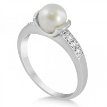 Solitaire Freshwater Pearl Ring Diamond Accents 14K White Gold 7-7.5mm