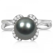 Diamond and Black Tahitian Pearl Ring Floral 14K White Gold 8-9mm
