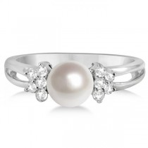 Freshwater Cultured Pearl and Diamond Ring 14K White Gold 6.5-7mm
