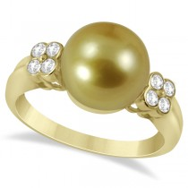 Diamond & Golden South Sea Cultured Pearl Ring 14K Yellow Gold 10-11mm