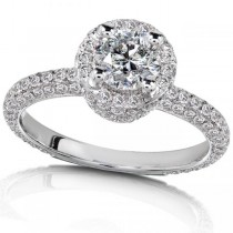 Round Halo Diamond Engagement Ring High Mount 14K White Gold (1.50ct)