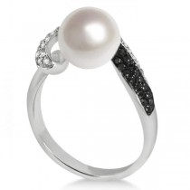 Black & White Diamond & Freshwater Pearl Ring 14K White Gold 8.5-9mm