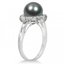 Grey Black Tahitian Pearl & Diamond Halo Ring 14K White Gold 8-9mm