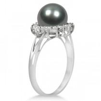 Grey Black Tahitian Pearl & Diamond Halo Ring 14K White Gold 8-9mm