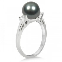 Tahitian Pearl & Diamond Three Stone Ring 14K White Gold 8-9mm