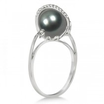 Grey Black Tahitian Pearl & Diamond Twist Ring 14K White Gold 9-10mm