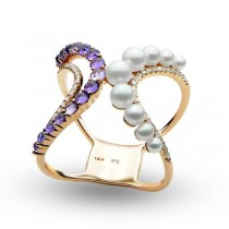 Pearl, Diamond and Amethyst Double Bar Ring 14k Rose Gold 0.71ct