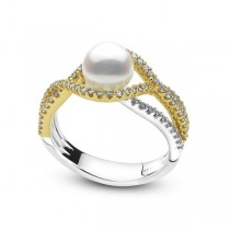 Akoya Pearl and Diamond Infinity Ring 14k Two Tone Gold (0.53ct)