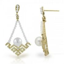 Vintage Diamond & Pearl Chandelier Earrings 14k Yellow Gold 6-6.5mm