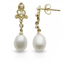 Antique Style Freshwater Pearl Dangle Earrings 14k Yellow Gold 7-7.5mm
