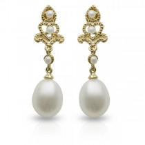 Antique Style Freshwater Pearl Dangle Earrings 14k Yellow Gold 7-7.5mm|escape