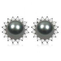 Cultured Tahitian Pearl & Diamond Stud Halo Earrings 14K W. Gold 8-9mm