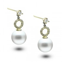 Akoya Pearl Drop Earrings w/ Diamond Accents 14k Yellow Gold (0.22ct)