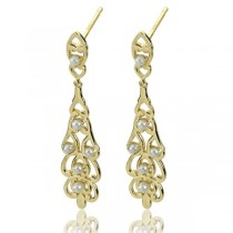 White Freshwater Seed Pearl Chandelier Earrings in 14k Yellow Gold