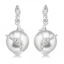 Freshwater Pearl & Diamond Twist Earrings 14k White Gold 9-9.5mm .14ct