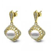 Antique Akoya Pearl Drop Earrings w/ Diamonds in 14k Y. Gold (0.33ct)