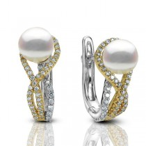 Akoya Pearl & Diamond Twist Drop Earrings 14k Two Tone Gold (0.46ct)