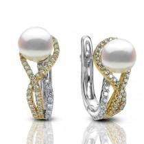 Akoya Pearl & Diamond Twist Drop Earrings 14k Two Tone Gold (0.46ct)