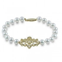 Diamond Accented Akoya Pearl Strand Bracelet 14k Yellow Gold 6.5-7mm