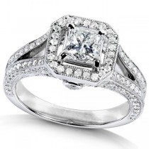 Princess Diamond Engagement Ring w/ Split Shank 14K W. Gold (1.33ct)