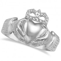 Men's Heart Claddagh Ring Irish Wedding Band 14k White Gold