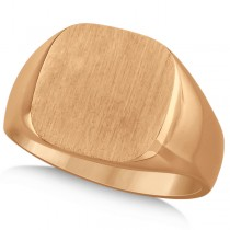 Men's Square Engraved Monogram Signet Ring 14k Rose Gold