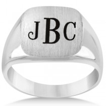 Men's Square Engraved Monogram Signet Ring 14k White Gold
