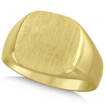 Men's Square Engraved Monogram Signet Ring 14k Yellow Gold