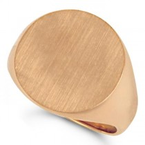 Men's Signet Ring, Round Shaped, Engravable in Solid 14k Rose Gold